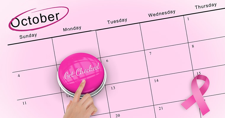 Good oral health can prevent breast cancer. October calendar with a 'get checked' reminder for breast cancer awareness month