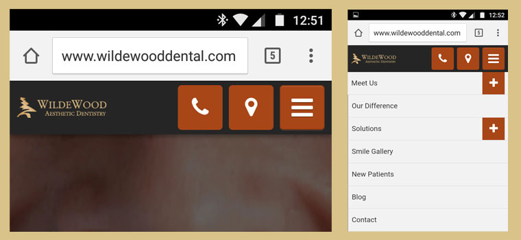 Preview of our Columbia dentist website mobile site