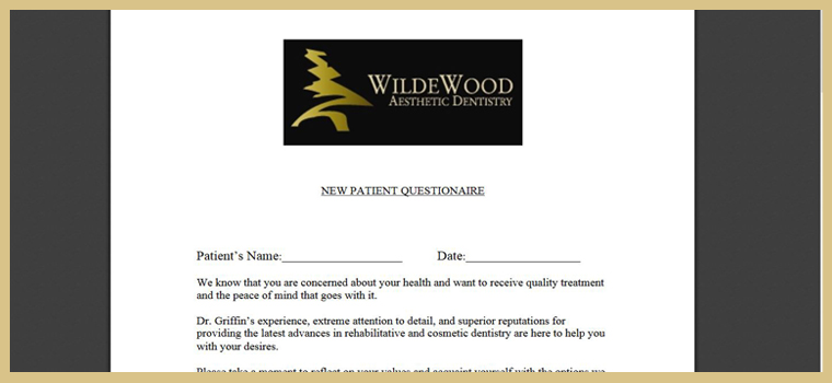 Preview of our patient forms that can be found on our Columbia dentist website