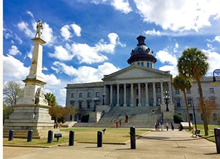 The capitol building and statue in Columbia SC