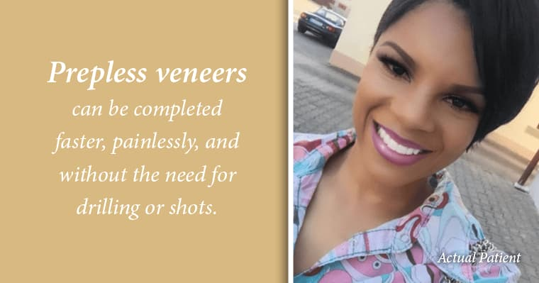 Photo of actual prepless veneers patient. Prepless veneers can be completely faster, painlessly without drilling or shots