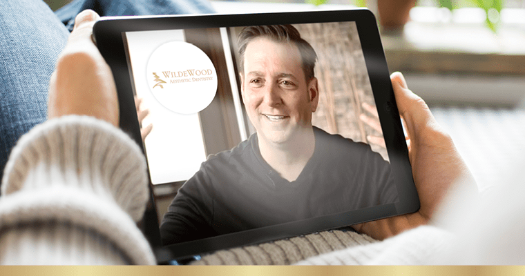 Dr. Justin Griffin on an iPad for the online smile consultation personalized video