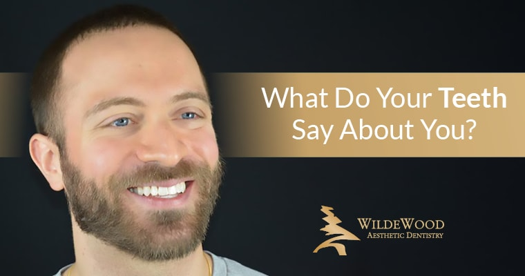 "A male patient of Dr. Griffin smiling with perfect teeth, and text that says ""What do your teeth say about you?"""