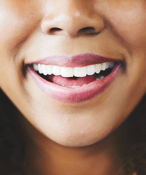 Close up of a woman's beautiful smile.