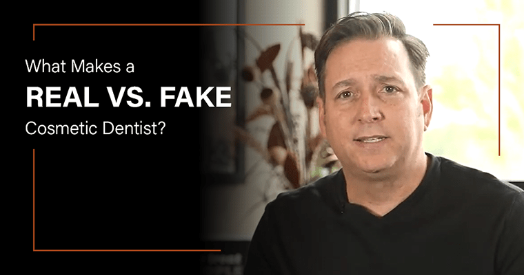 "Dr. Griffin with text, ""What Makes a Real vs. Fake Cosmetic Dentist?"""
